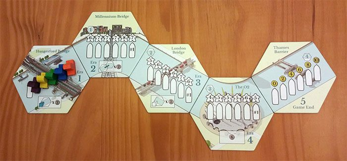 River tiles with the boats in their starting order
