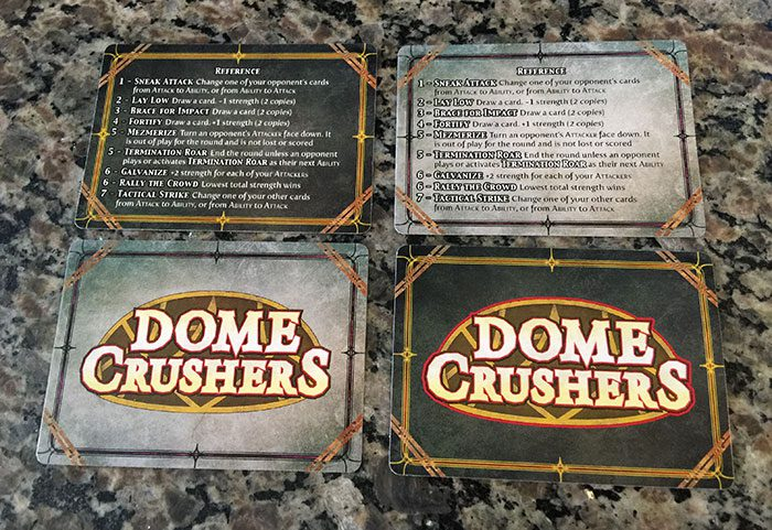 Dome Crushers card backs and reference cards
