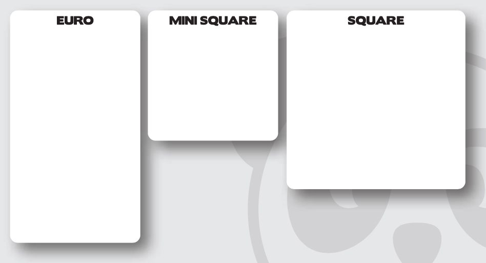 Euro, Mini square, and Square cards