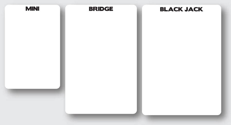 Mini, Bridge, and Blackjack cards