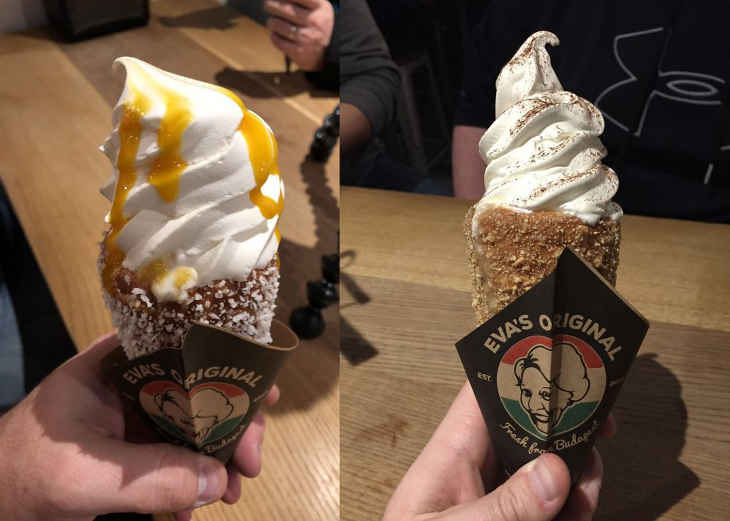 Two kinds of doughnut cones.