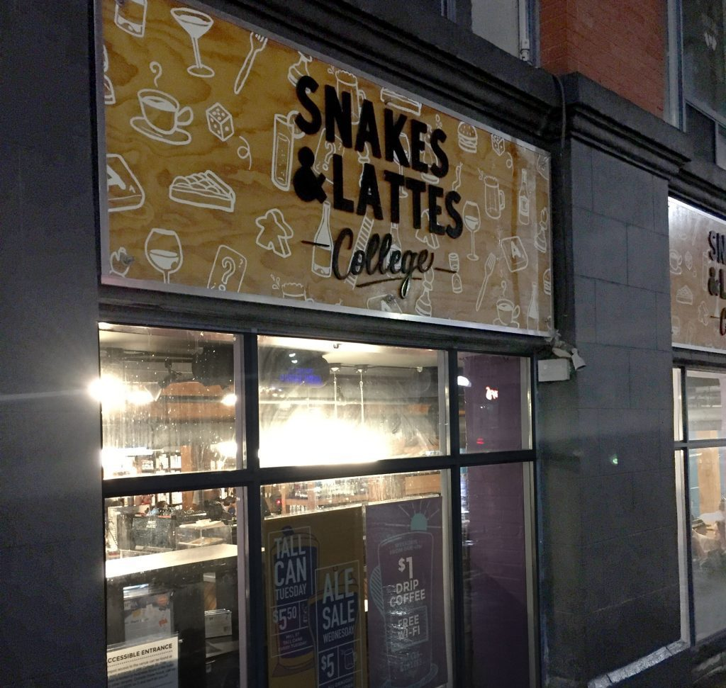 Outside Snakes & Lattes College