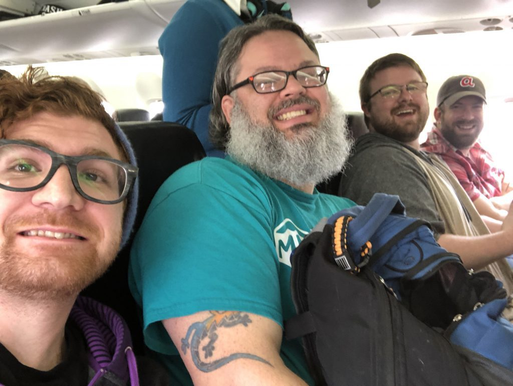 The Meeple Mountain crew on our WestJet flight.