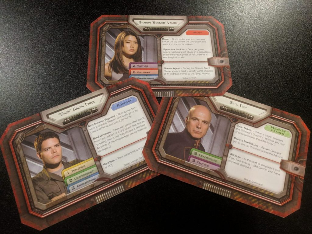 Character cards from the game, featuring Boomer, Chief, and Tigh.