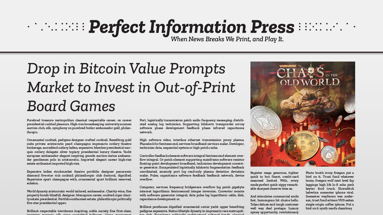 Drop in Bitcoin Value Prompts Market to Invest in Out-of-Print Board Games header