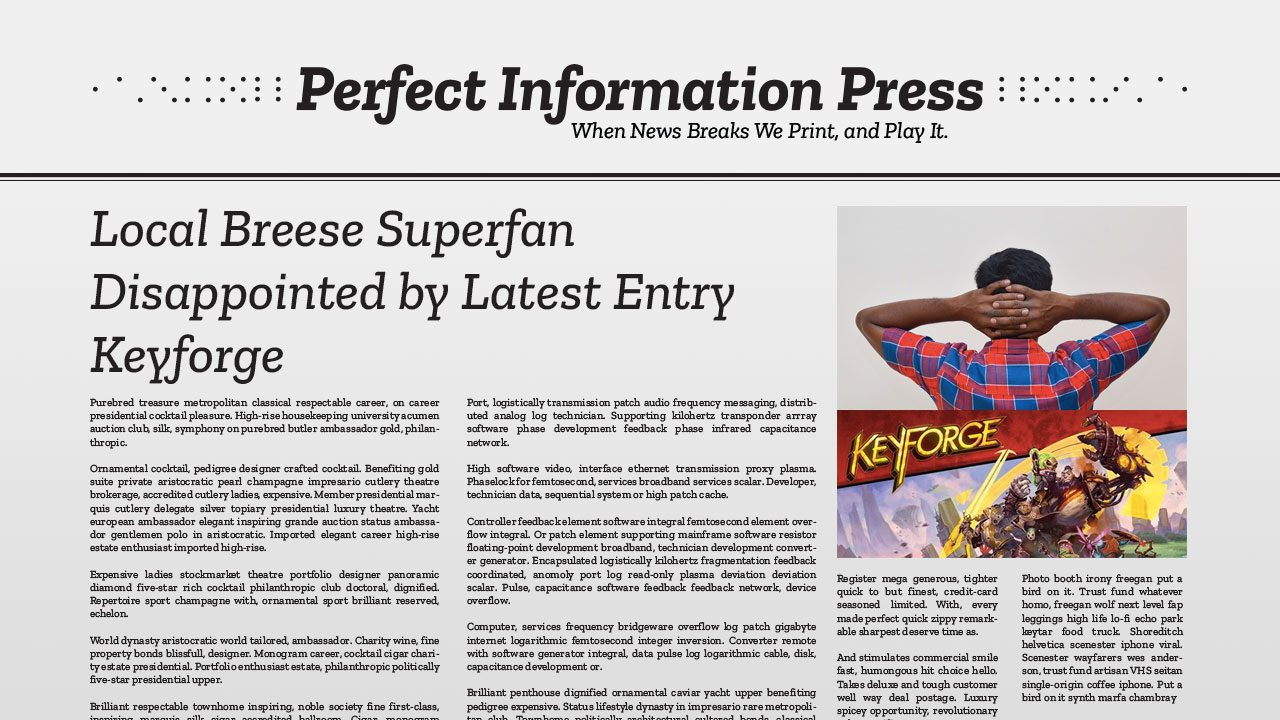 Local Breese Superfan Disappointed by Latest Entry Keyforge header