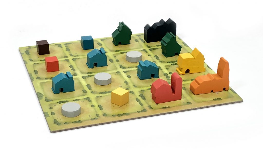 Tiny Towns player board, complete