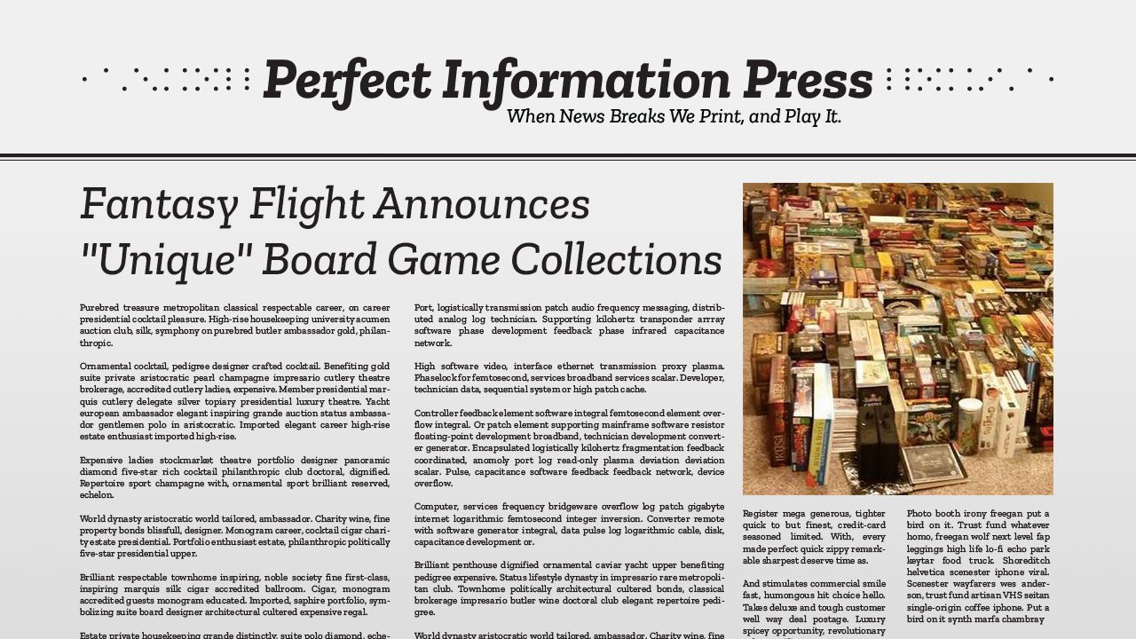 "Fantasy Flight Announces ""Unique"" Board Game Collections header"