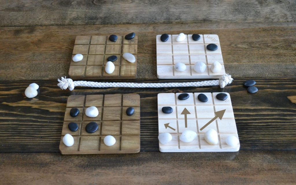 A series of move options for a single white stone.