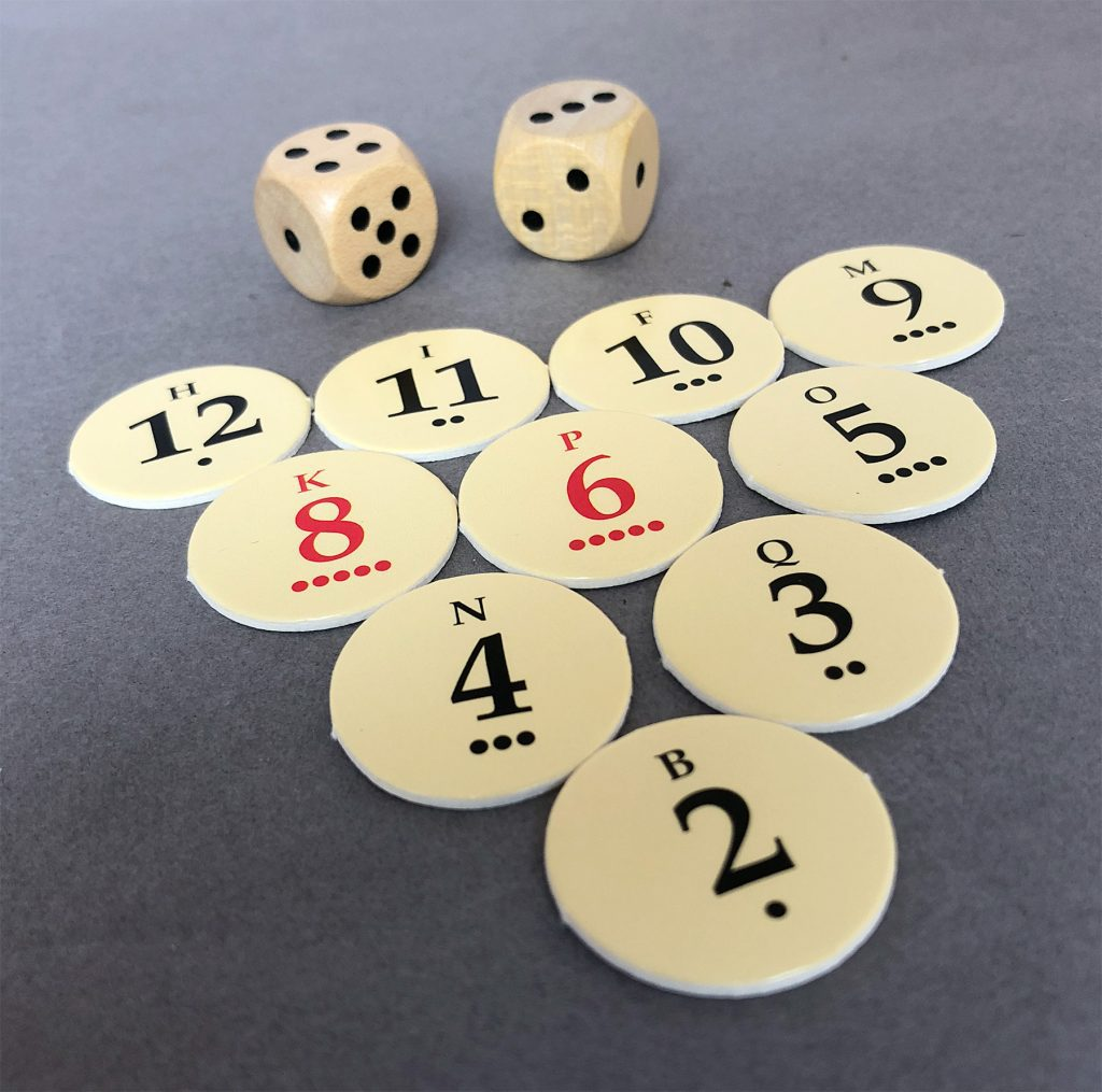 Numbered discs with dots representing the 2D6 likelihood of being rolled