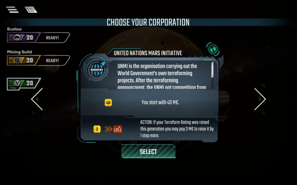 The app gives you three Corporations to choose from: one Standard Corporation and two from the Corporate Era variation.