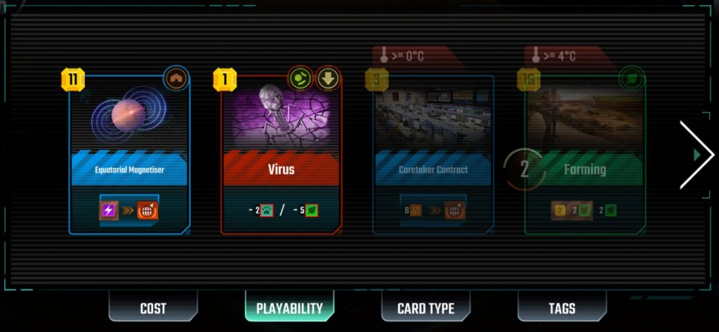 Reviewing the Project Cards in a player's hand.