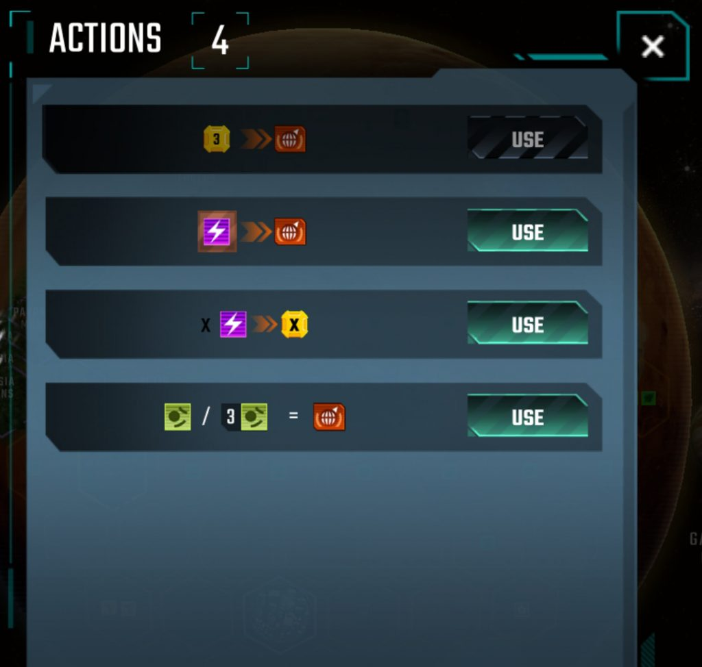 The Actions area shows you all of the Blue Event Actions you have available to you.