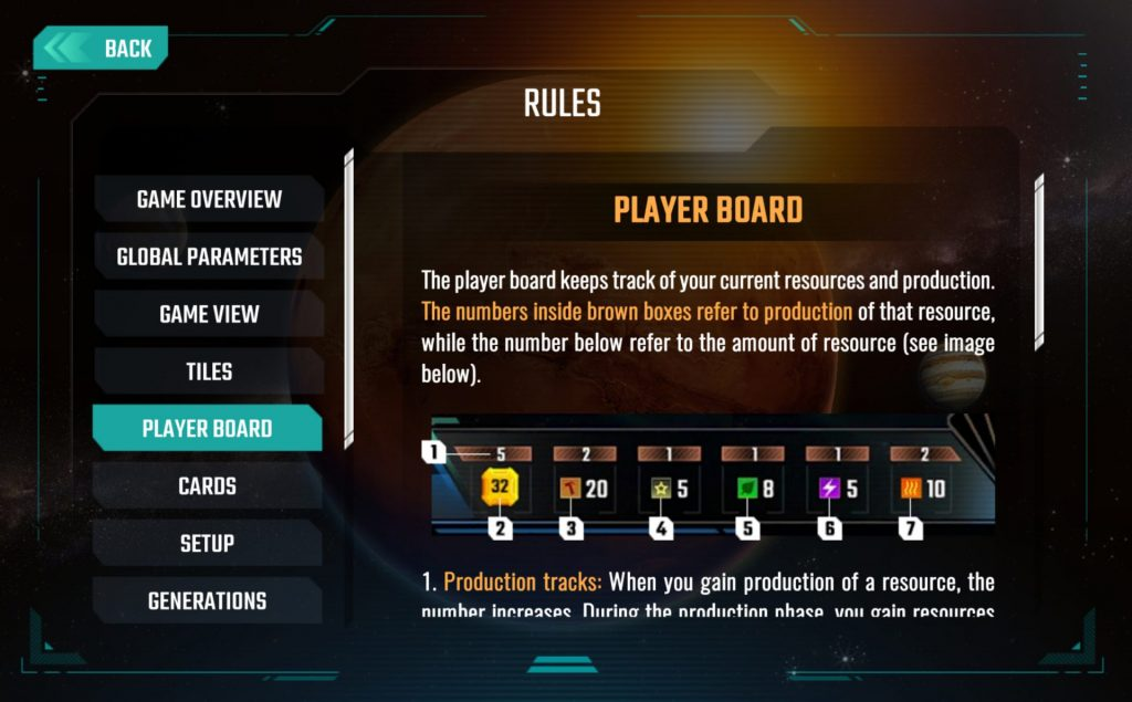 Each category is clearly explained, using graphics from the game.
