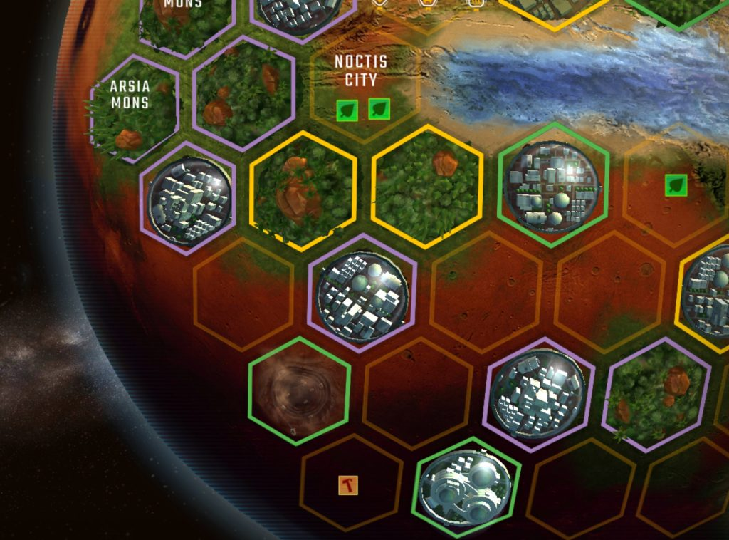 Whenever a player places a Greenery or City tile, the terraformed hex is outlined with that player's Corporation color.