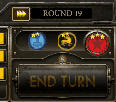 Just above the End Turn button are icons for each faction and the number of Stars they've accumulated
