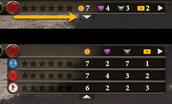 Clicking the down arrow (indicated) will expose the same stats for each of your opponents.