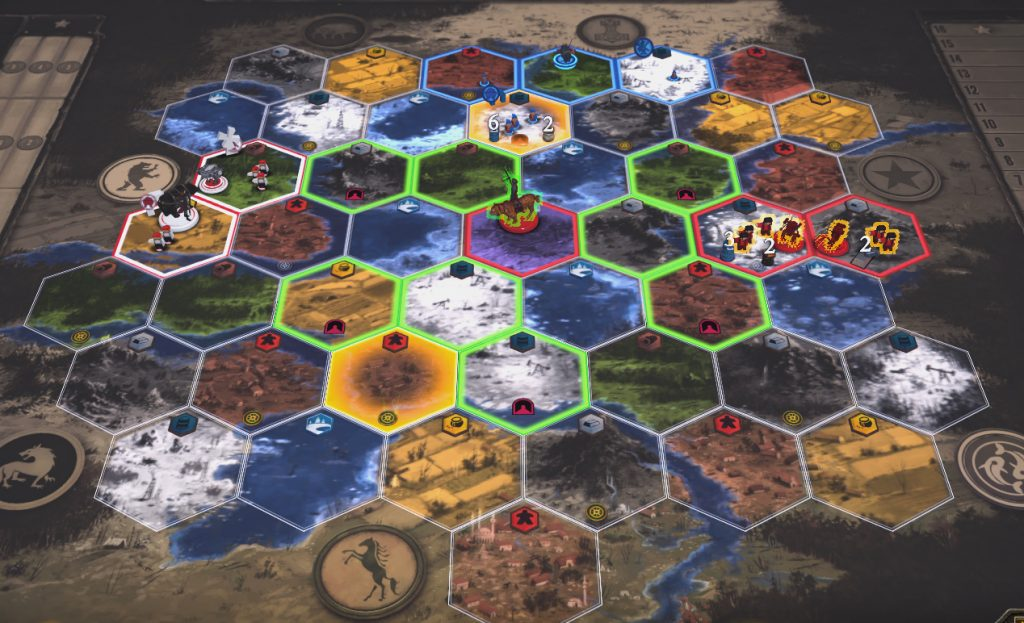 Rusviet's character Olga, along with her tiger, Changa, is in the Factory hex. After clicking on the Movement action and her character, all of the hexes she could possibly move to are highlighted