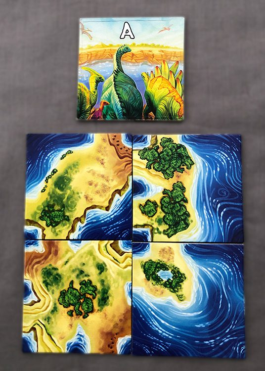 """Four starting """"A"""" backed tiles to start a game."""