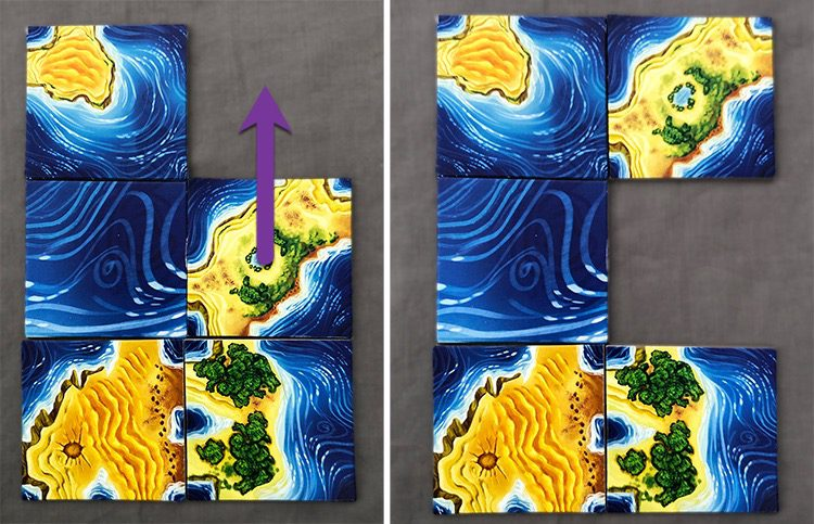Shifting a tile to create a new, separate continent.