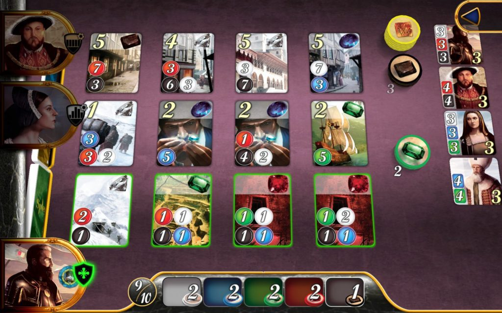 Highlighted Development cards, available tokens, current tokens in hand.