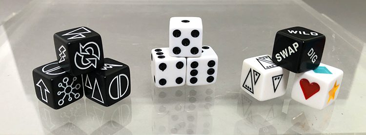 The various dice used in the Arcade games