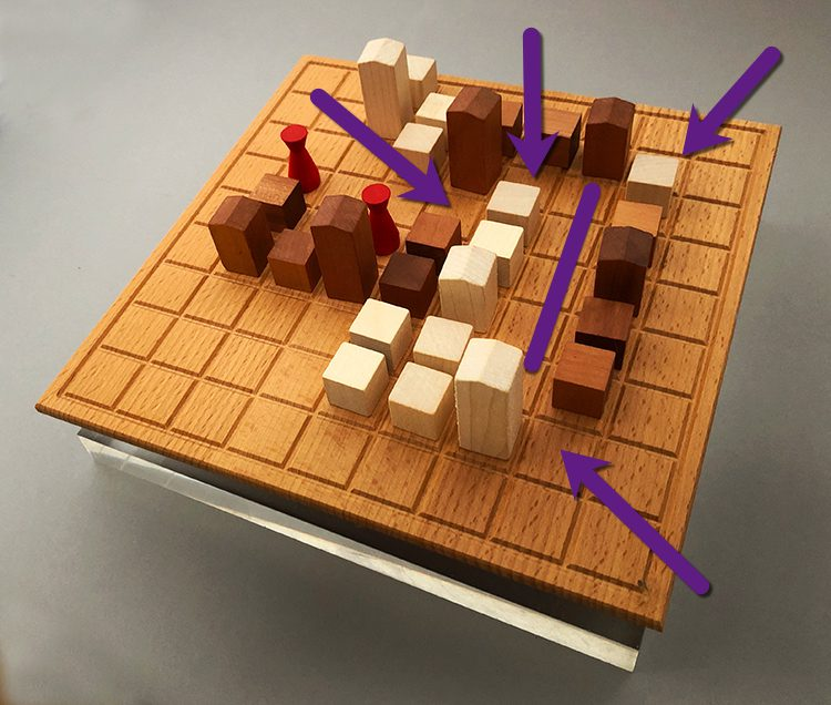 Neither player can add a building to any of the squares indicated by the purple arrows or line.