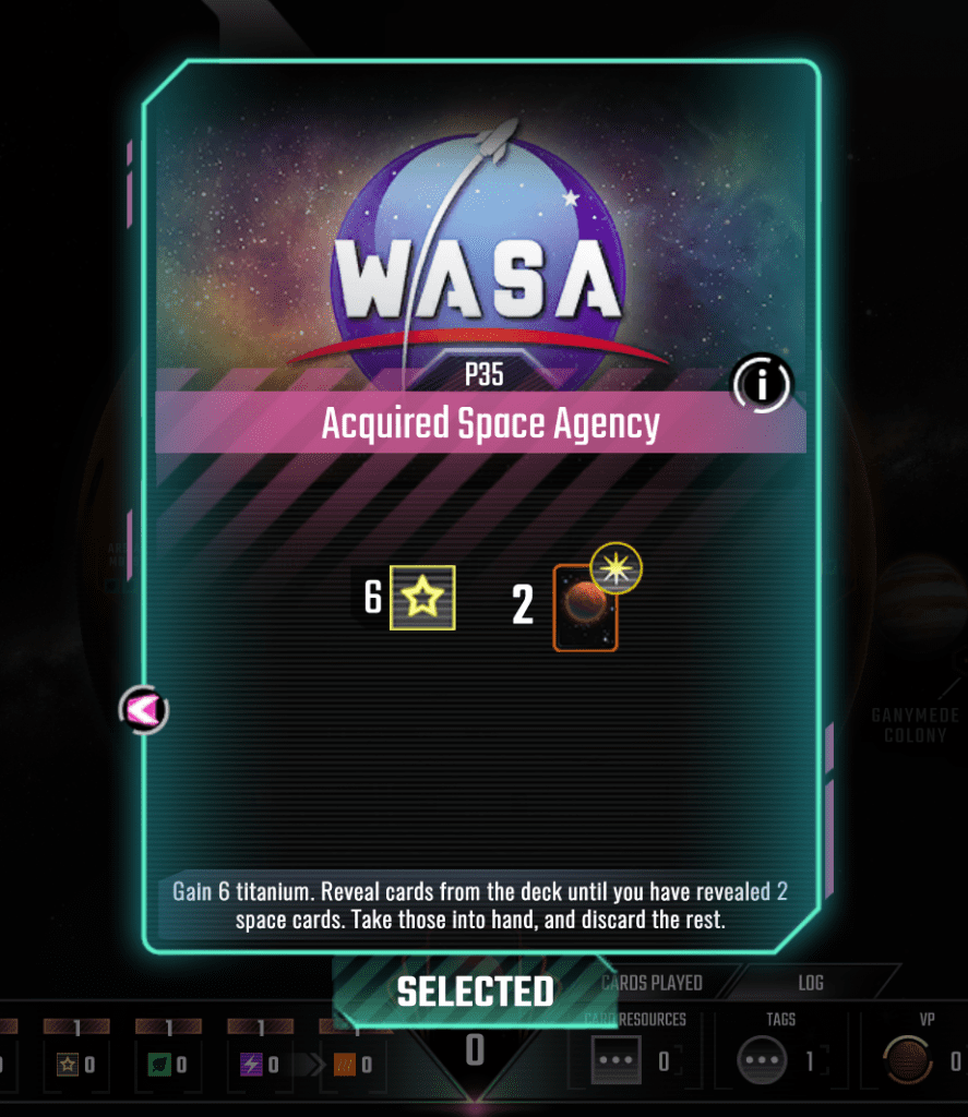 The Acquired Space Agency card