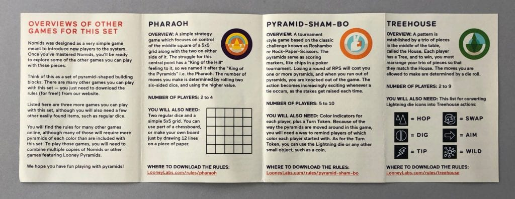 The rules for three other games you can play with the Nomids components.