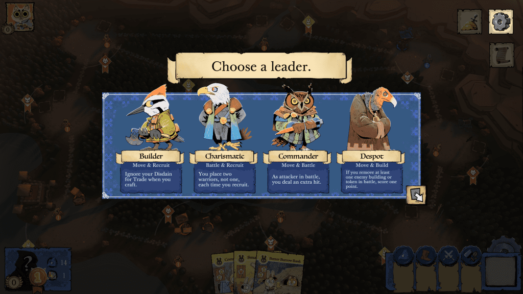 The four Eyrie Dynasties Leaders to choose from.