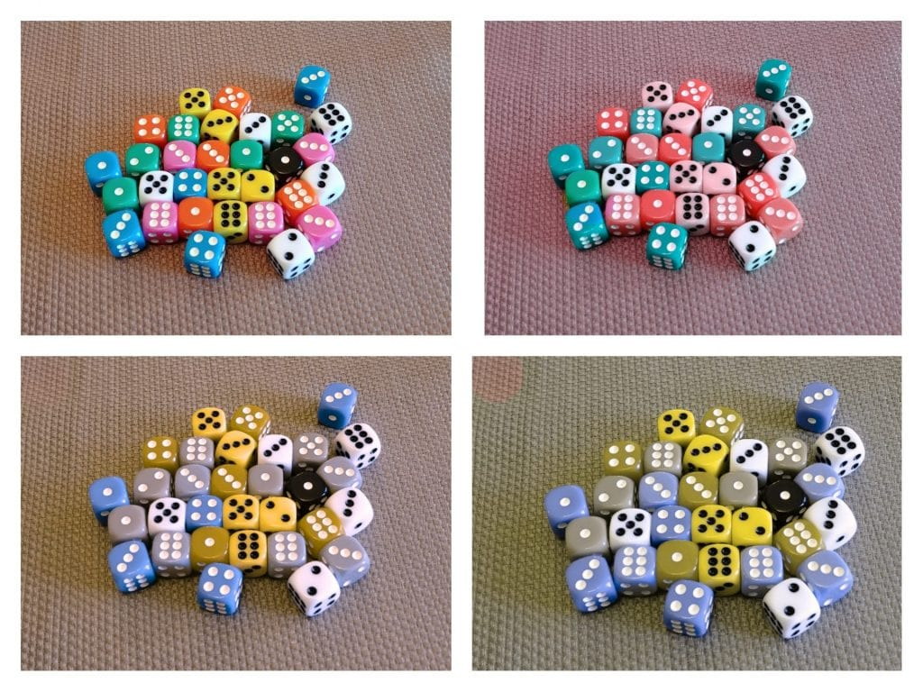 Dice set through different colour-blindness lenses
