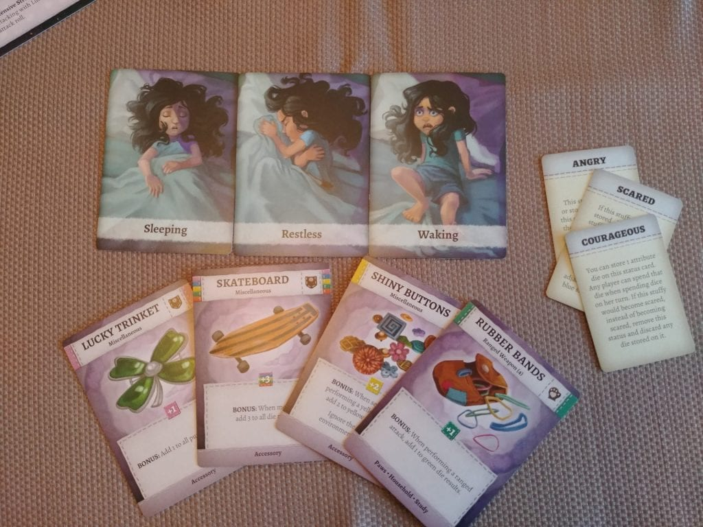 Sleep Deck and Item cards from Stuffed Fables