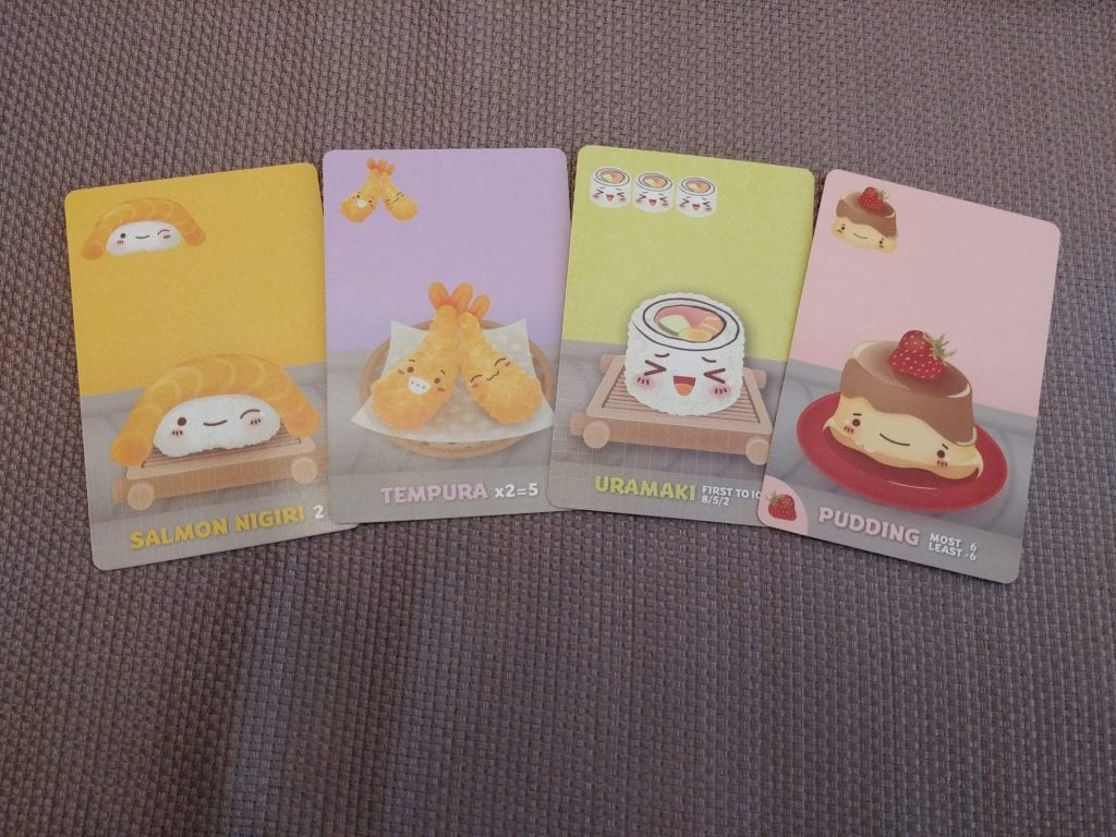 Some example cards from Sushi-Go Party