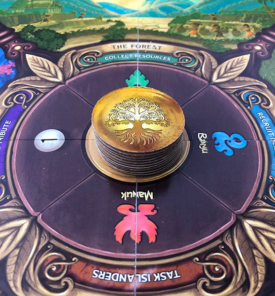 Decree Markers in the center of the board.