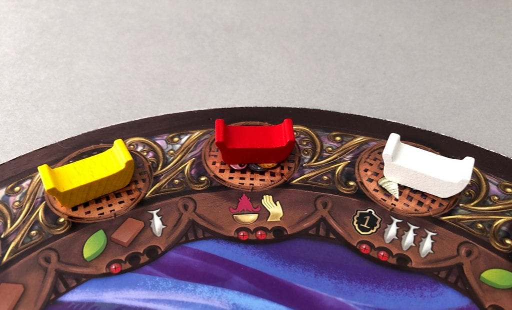Player boat tokens on Ambelau. The Yellow player gains a Palm, Clay, and a Fish; the Red player gains an Ukum Tribute card and may activate an Islander; the White player may take their Special Guide for use in the next round and claims 3 Fish.