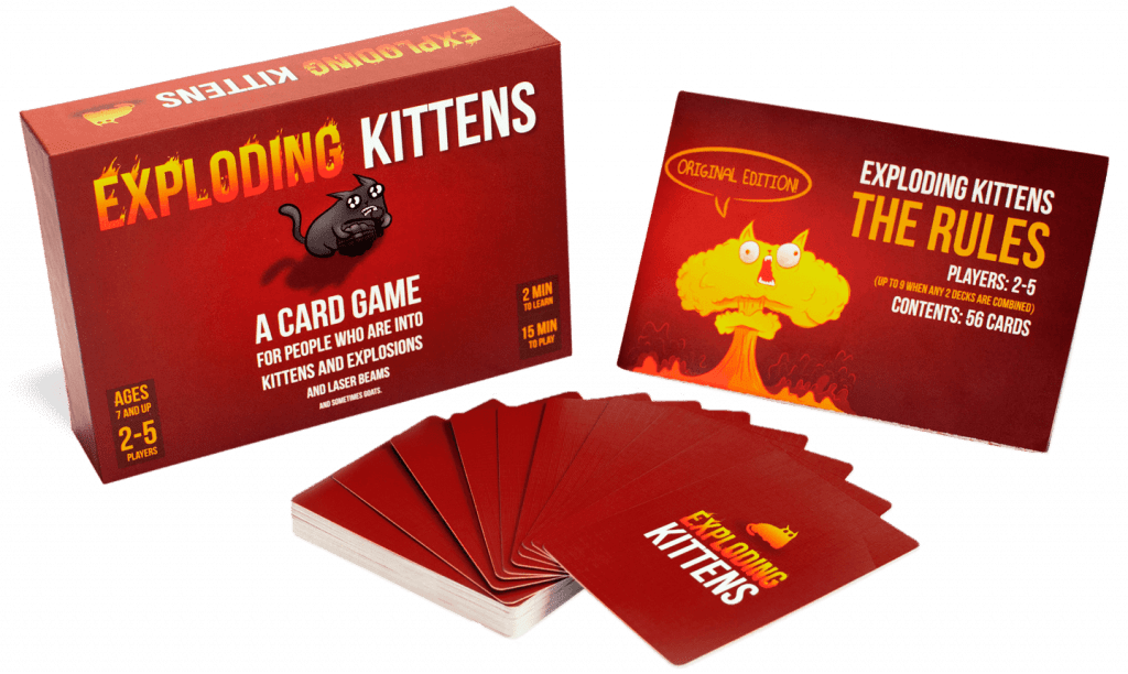 The contents of the Exploding Kittens box