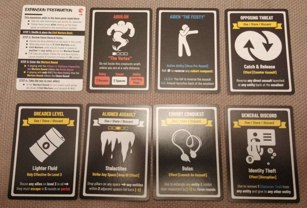 Examples of Civil Warfare cards