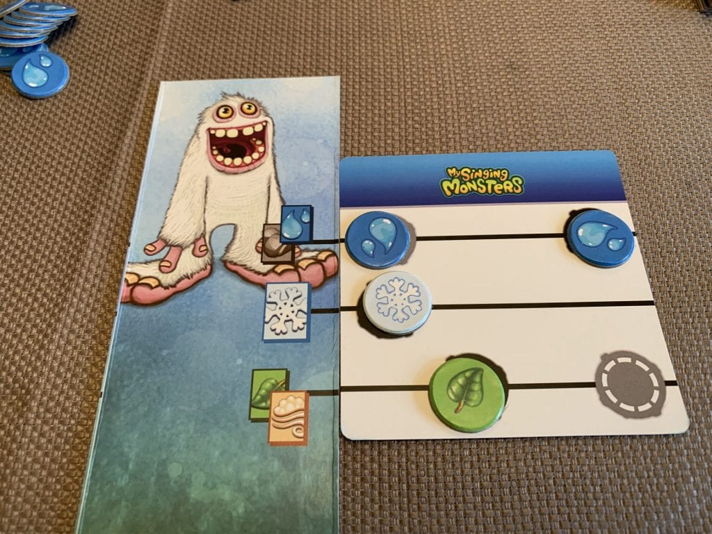 The element strip/character sheet with Mammot and an easy score sheet.