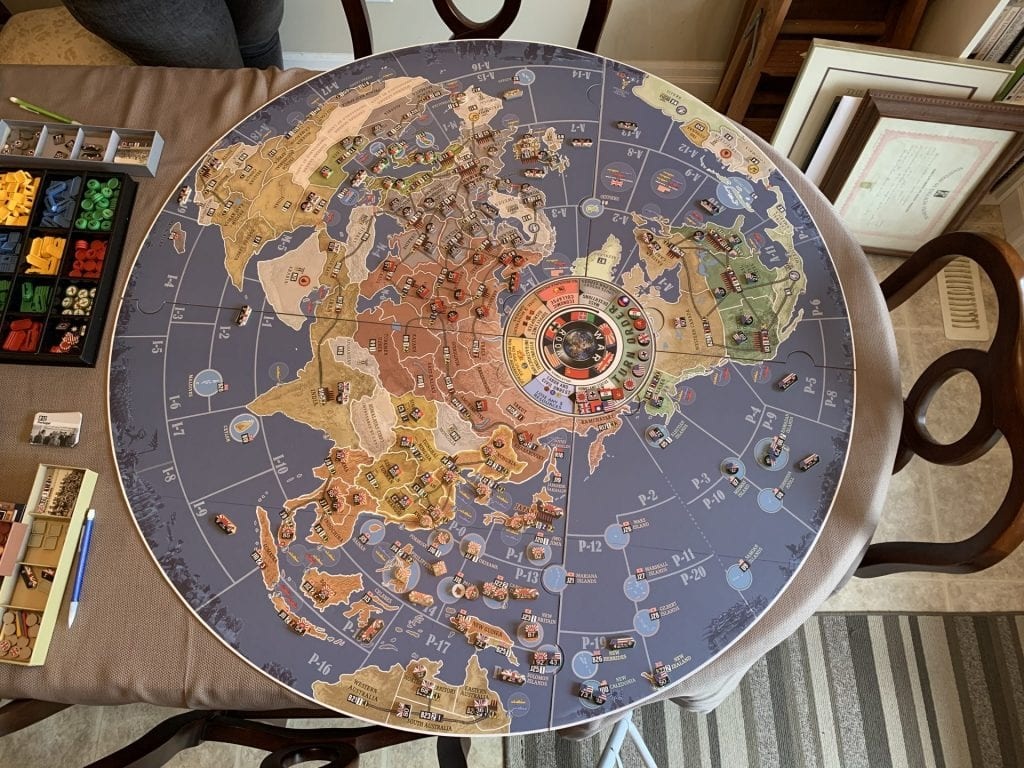 War Room Full Map Set Up With Unit Tokens Across the World